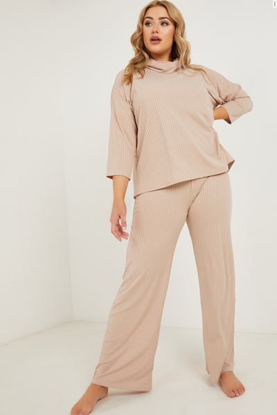 Curve Stone Ribbed Palazzo Trousers